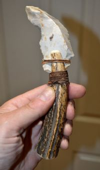 Excellent Neolithic flint sickle, re-hafted in a prototypical Antler handle, Dorset.  SOLD